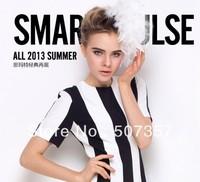 Wholesale Black and white stripe chiffon printed fabric / Lycra fabric short-sleeved chiffon dress A066