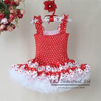 2014 Fashion Girls Dress Hot Pink And White Dot And Polyster Tutu And White Yarn Hem Dress Wholesell Free Shipping TD30811-8