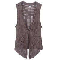 Autumn of  2013 female hollowed knitting cardigan sweater free shipping