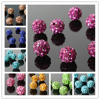 Handmade diy accessories material soft ceramic shamballa rhinestone ball 10mm beads semi-finished products