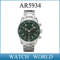 HK Free shipping post  AR5934 New 5934 Men's Stainless Steel Green Dial Chronograph Sport Wrist Watch + Original box
