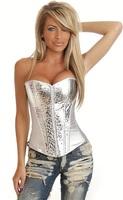 2013 Popular Hot Style,Factory Direct, Quality Assurance,Fashion Sexy Sequins Zipper Overbust Corset,S/M/L/XL2XL,Q2797Z-Silver