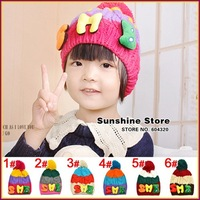 Sunshine store #2C2678  5pcs/lot(6 colors) baby hat winter character S M B beanie toddler cap rainbow children knitted hat CPAM