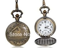 Bronze Round Quartz Analog Pocket Watch M.,free shipping