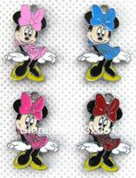 Wholesale 100 pcs Dance Minnie Mouse Hang Pendant Charms Fit Pet Collar Bracelet Cell Phone Charms