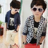 2014 autumn hot sells 5pcs/lot children boys Cool handsome plaid blazer boys fashion casual suit