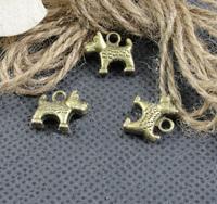 Alloy pendant, charms, animal - dog 14x13mm ,  antique brass plating, item ALP1129