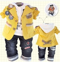 2013 Baby boys Korea style clothing Kids 3 pieces set Jacket+t shirt+jeans Boys Hooded Bear yellow long sleeve jacket Retail