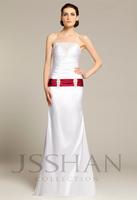Elegant Strapless Beading Ruched Elastic Woven Satin Bridal Wedding Dress Free Shipping