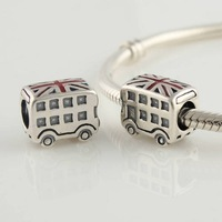New 925 Sterling Silver Double-Decker Bus Screw Hole Charm Beads, DIY Jewelry For Thread Troll Charm Bracelet DIY Making LW103