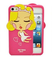 The 2013 New design proctective Lovely 3D girl cover golden hair Marilyn Monroe silicone case for iphone 4/4S 5 free shipping