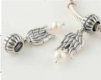 New 925 Sterling Silver Angel's Wing Screw Hole Charm Beads with White Pearl, Compatible With Pandora Style Bracelet LW108