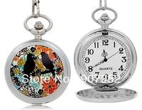 Swallow Print Quartz Analog Pocket Watch M.,free shipping