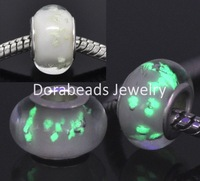 Free Shipping! 20 White Glass Luminous Beads Fit Charm Bracelet (B13721)