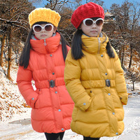 5 colours children's clothing child cotton-padded jacket girls cotton-padded jacket belt wadded jacket medium-long girl coat