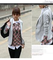 New Arrival, Fashion Gray/Purple/Black Women's Slim One Button Long sleeve Leisure small suit Blazer Coat Jacket