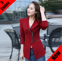 2013 new autumn-summer women fashion designer peplum pleated zipper blazer jacket suit feminino jaqueta casacos ternos for woman