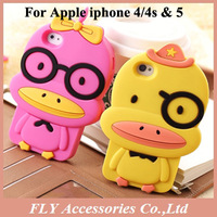 10pcs/lot Free ship! 3D Cartoon Rhubarb duck Magic Elephent Case Silione Soft Skin Cover for Iphone 4g 4s 5 5G