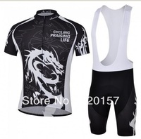 2013 new style cheji dragon of black short sleeve bike Cycling wear jersey +BIB shorts sets suit