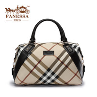 2013 fashion british style plaid fashion all-match large bag leather women's handbag free shipping