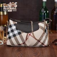 2014 fashion plaid VC and genuine leather women's handbag all-match small handbag messenger bag free shipping