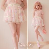Sweet lolita princess pink gentlewoman Beautiful flower chiffon  x pure white dot gauze culottes short skirt b0829