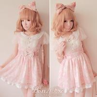 Sweet lolita princess BOBON 21 pink lace gentlewoman  faux two piece suspenders dress one-piece dress d0821 bow tie belt dual