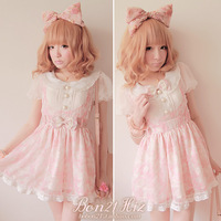 Sweet lolita princess pink lace gentlewoman  faux two piece suspenders dress one-piece dress d0821 bow tie belt dual