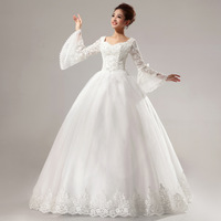 Winter princess bride long-sleeve wedding qi formal dress married hs6275