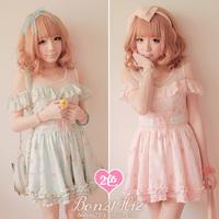 Sweet lolita dress bobon 21 princess royal pink  strapless off shoulder floral baby doll dress gauze patchwork d0825 one-piece