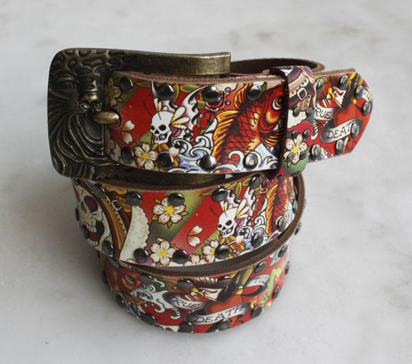 Frete Grátis cabeça do tigre genuíno cinto de rebite pulseira de couro couro genuíno cintos de cobre moda(China (Mainland))