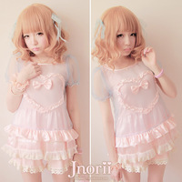 Sweet lolita princess royal pink gentlewoman Love bobon21 soft organza transparent shirt basic t0802 twinset