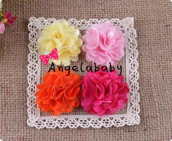 "2"" Mini Mesh Chiffon Flowers Flat Back DIY Photography Props Baby Flower Headbands Accessories 60pcs/lot"
