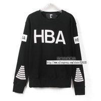 2013 Autumn HOOD BY AIR HBA Black Gray Concentric circles Long sleeve O-Neck Lovers Hoodies Sweatshirts Free shipping