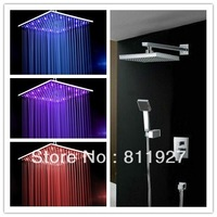 Hot! 16 inch 40cm brass led shower head plus brass valve and arm with abs hand shower faucet set Fast delivery free shipping