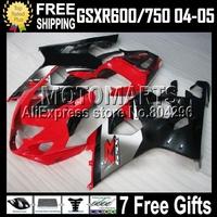 7gifts+Cowl For SUZUKI GSX-R600 GSXR600 04 05 K4 RED BLACK GSXR750  C#107J80 04-05 2004 2005 hot red black Fairing GSX-R750