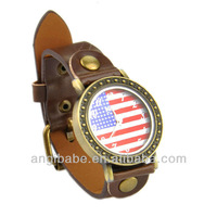 Quartz America flag pattern Watch for Women Womage A523 watches PU strap with Watch Box