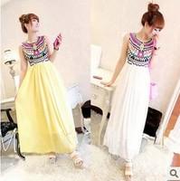 2013 New Free Shipping Women's Beautiful Minority Pattern Splicing Pleated Sleeveless Chiffon Dress Yellow/White HM13050409