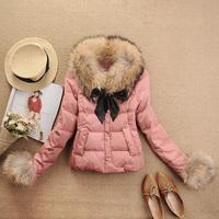 Down coat female short design super large raccoon fur luxury winter