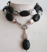 Exquisite tibet silver black agate pendant necklace