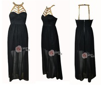 Free shoping NEW ARRIVALS Fashion gold chain cut out on both sides of the slit chiffon maxi dress. Party Dress  TB 5389