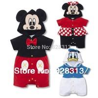 Free Shipping 1pcs/lot  Mickey / Minnie / Donald Duck Cartoon Romper Short Sleeve Baby Girls Boy Romper