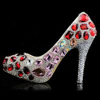 Djali phlobaphene bride crystal shoes ultra high heels platform shoes round toe single shoes party shoes