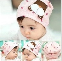 Free shipping Korean girls children cartoon pictures warm cotton baby autumn winter dog heap heap set all hat on her head