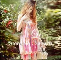 2013 Free Shipping Summer  Bohemian Beach Shivering Flower Flouncing Lap Color Maxi Halter Elastic Chiffon Dress N10031302-1