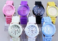 5pcs New Fashion Designer Sports Brand Silicone Jelly Watch Colorful Quartz Geneva Watch For Women Men Free Shipping