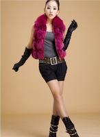 2013 New Arrival Women's Free Shipping Winter Warm Sleeveless Fox Fur Zipper Embellished Vest coat Rose Sent from Russia