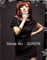 2013 New Lady's Stylish Sexy  All Match Rhinestone Shoulder Straps Short Sleeve Slim Dress Black MZ12052803 TJ10121211