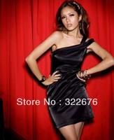 Free Shipping Women's Elegant Oblique Single Shoulder Pure Color Pub Party Satin Dress Black/White  X09120217-1/X09120217