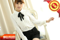 Cbrl peter pan collar bow decoration long-sleeve basic all-match shirt 2013 shirt